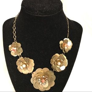 Jewelry - Burnished Metal Flower Necklace